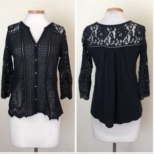 Lucky Brand Boho Cotton Lace 3/4 Sleeve Button Up